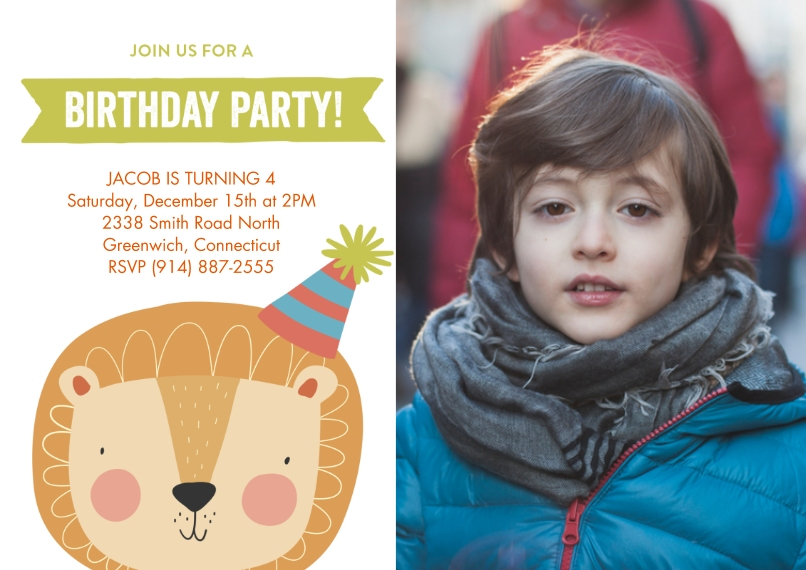 Kids Birthday Party 5x7 Cards, Premium Cardstock 120lb, Card & Stationery -Birthday Party Lion Hat by Tumbalina
