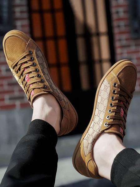 Milanoo Mens Sneakers Cosy Cowhide Round Toe Color Block Grey Black Men\'s Shoes