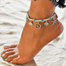 1pc Starfish & Shell Charm Anklet