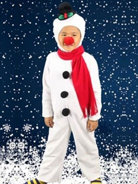 Milanoo Christmas Snowman Costume White Jumpsuit With Scarf For Kids Halloween