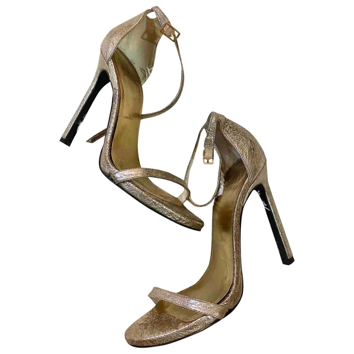Stuart Weitzman \N Metallic Leather Sandals for Women 34.5 EU