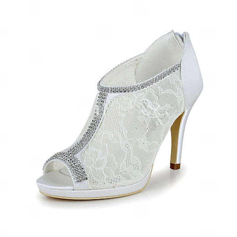 Ericdress Rhinestone Stiletto Heel Zipper Patchwork Wedding Shoes
