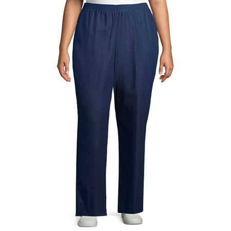 Alfred Dunner Womens Straight Pull-On Pants, 22w Short , Blue