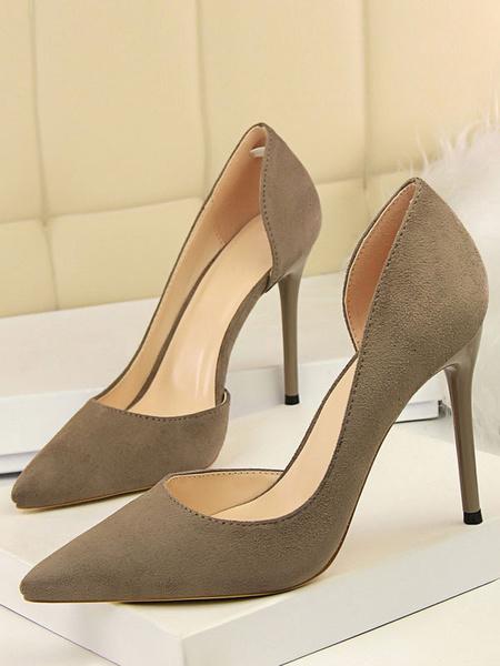 Milanoo Black High Heels Suede Pointed Toe Slip On Pumps Women Dress Heeled Shoes