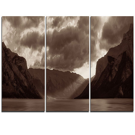 Designart Banff National Park Panoramic View Landscape Triptych Canvas Art Print, One Size , Black