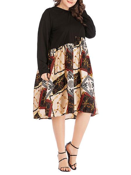 Milanoo Plus Size Dress For Women Black Cotton Patchwork Midi Dress