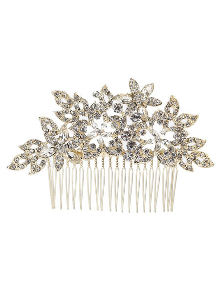 Milanoo Wedding Comb Rhinestones Headpieces Beaded Light Gold Bridal Hair Accessories
