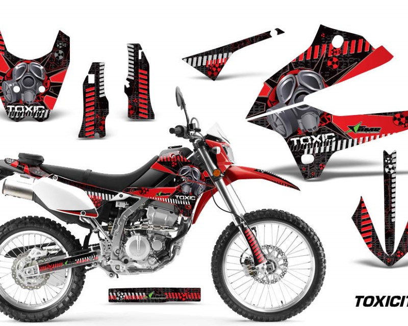 AMR Racing Dirt Bike Decals Graphics Kit Sticker Wrap For Kawasaki KLX250 2008-2018áTOXIC RED BLACK
