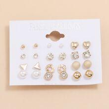 12pairs Rhinestone & Faux Pearl Stud Earrings