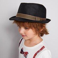 Toddler Boys Striped Pattern Belt Decor Straw Hat