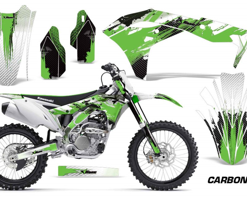 AMR Racing Dirt Bike Graphics Kit Decal Sticker Wrap For Kawasaki KXF250 2017-2018áCARBONX GREEN