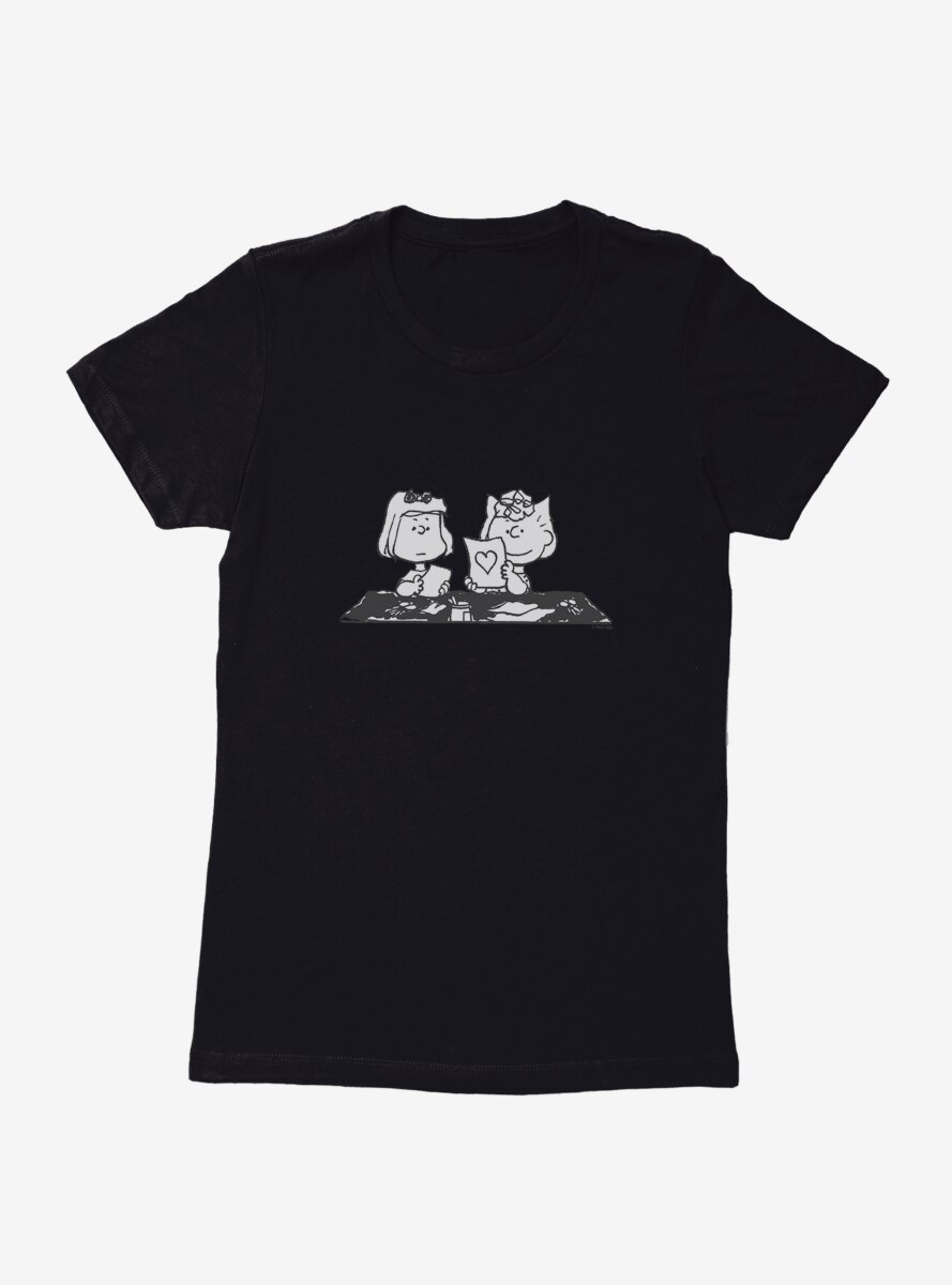 Peanuts Patty And Sally Valentine Cards Womens T-Shirt