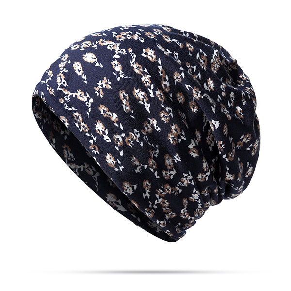 Women Printed Flowers Cotton Beanies Cap Travel Leisure Bonnet Hat Multifunction Scarf