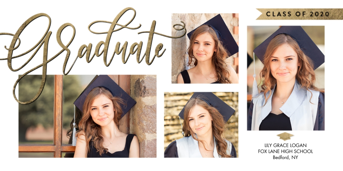 Graduation Announcements Flat Matte Photo Paper Cards with Envelopes, 4x8, Card & Stationery -Class of 2020 Banner Script by Tumbalina