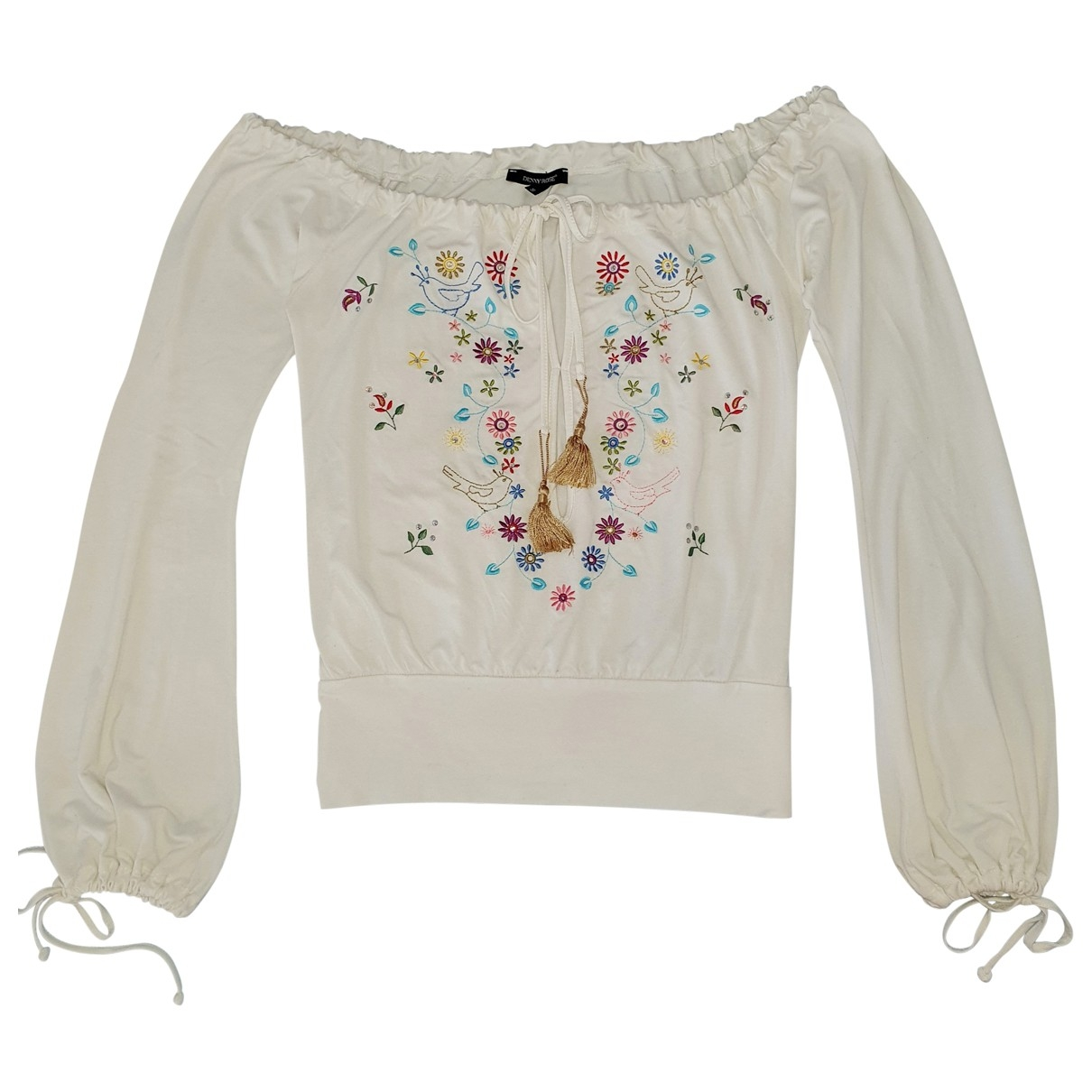 Non Signé / Unsigned Hippie Chic White  top for Women S International