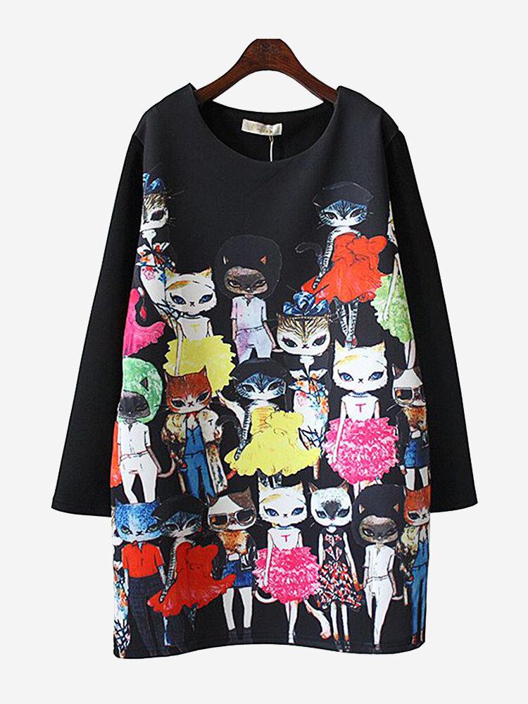 Print Cat Lady Crew Neck Mid Length Sweatshirt