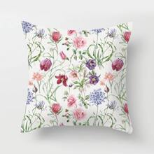 Floral Overlay Print Cushion Cover