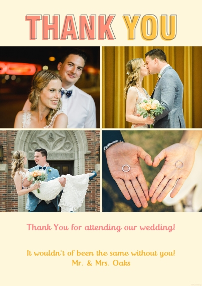 Wedding Thank You 5x7 Cards, Premium Cardstock 120lb with Elegant Corners, Card & Stationery -Thank You