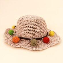 Toddler Girls Pom Pom Decor Straw Hat