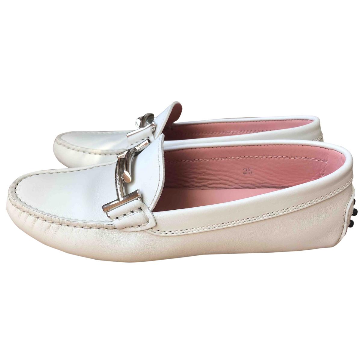 Tod's Gommino White Leather Flats for Women 35 EU