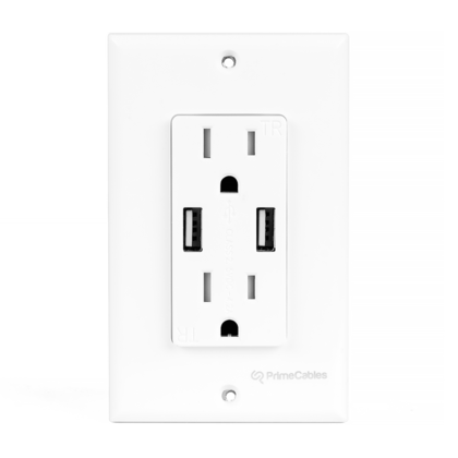 3.1A Smart Fast Charging Dual USB Port, Decora Tamper Resistant Duplex Receptacle - PrimeCables® - 1/Pack