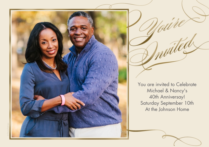 Anniversary 5x7 Cards, Premium Cardstock 120lb with Rounded Corners, Card & Stationery -You're Invited