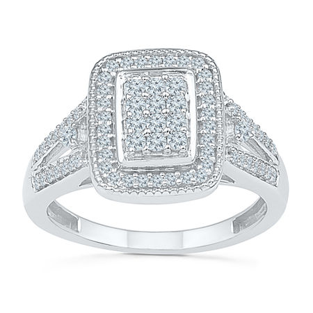 Womens 1/2 CT. T.W. Genuine White Diamond 10K White Gold Engagement Ring, 4 , No Color Family