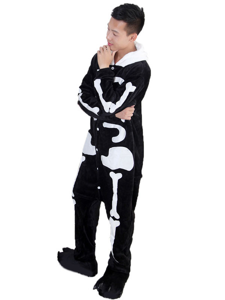 Milanoo Kigurumi Pajamas Skeleton Black Flannel Unisex Winter Sleepwear With Footwear Animal Halloween Costume