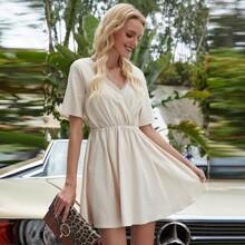 Solid V Neck A-line Dress