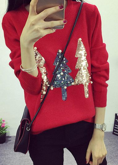Ugly Christmas Sweater Xmas Women'S Red Tree Print Long Sleeve Pullover Faux Pearl Detail Holiday Sweater By Rosewe - XL