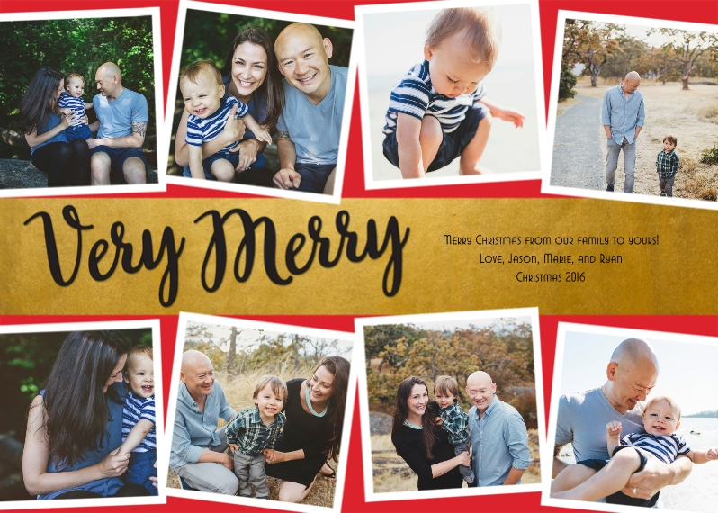Christmas Photo Cards Flat Glossy Photo Paper Cards with Envelopes, 5x7, Card & Stationery -Gold Banded Merry