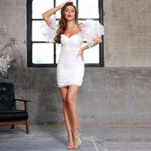 DKRX Off Shoulder Ruffle Sleeve Organza Bodycon Dress