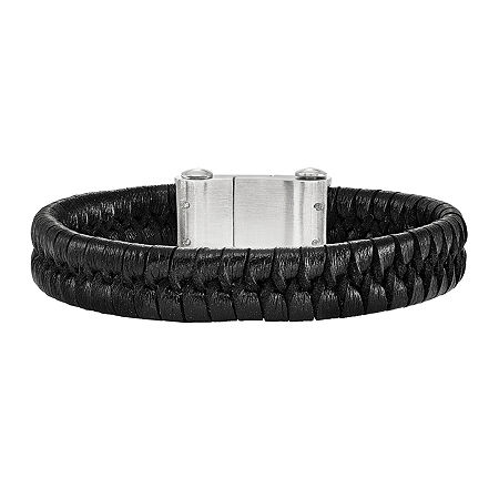 Mens Stainless Steel & Black Leather Bracelet, One Size , No Color Family
