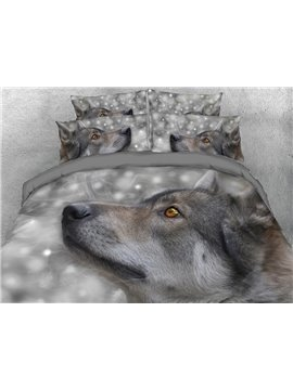 Wolf Head Digital Printing 4-Piece Grey 3D Bedding Sets/Duvet Covers