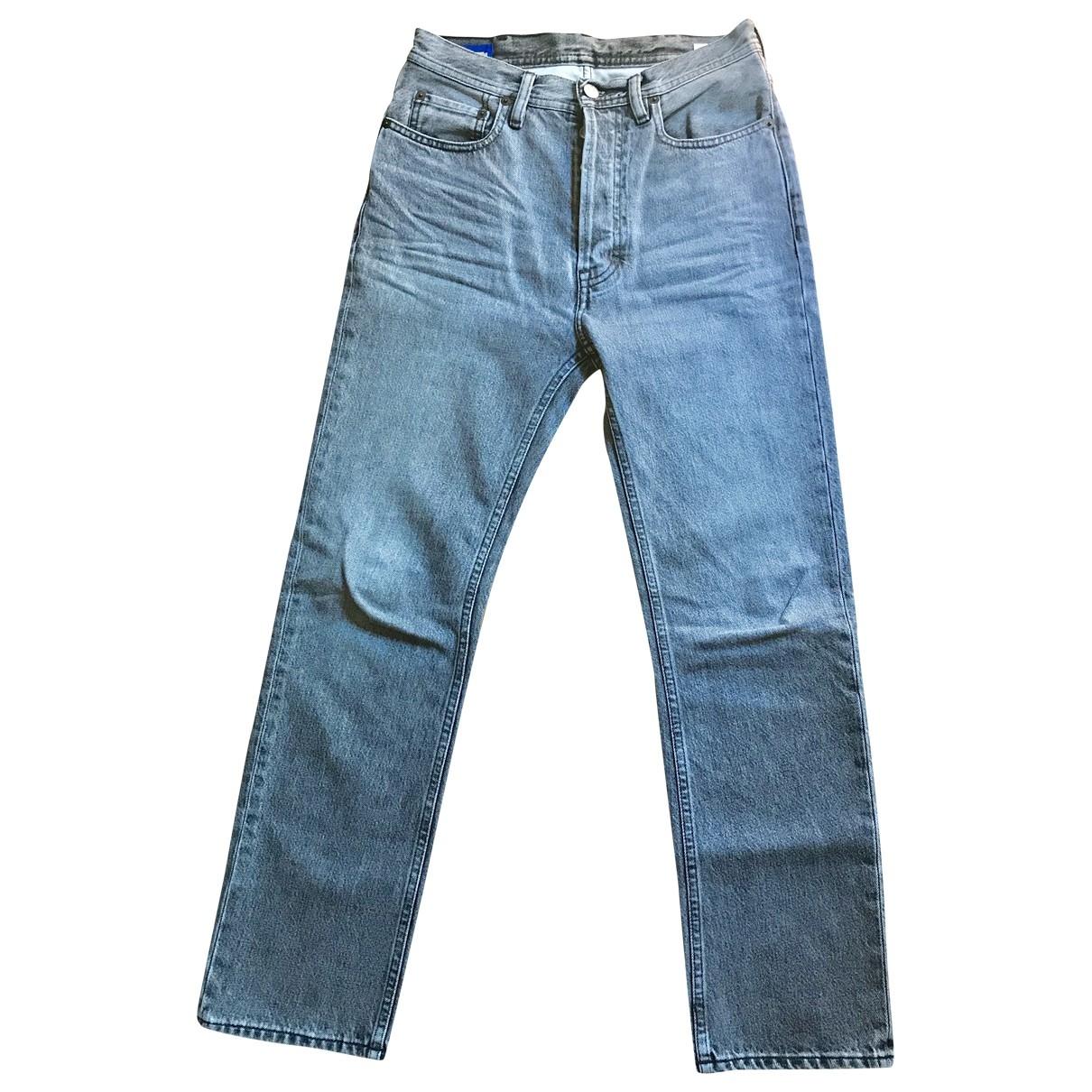 Acne Studios Blå Konst Grey Cotton Jeans for Women 36 FR