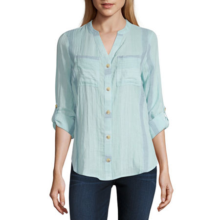 a.n.a Womens Long Sleeve Regular Fit Button-Down Shirt, Xx-large , Blue