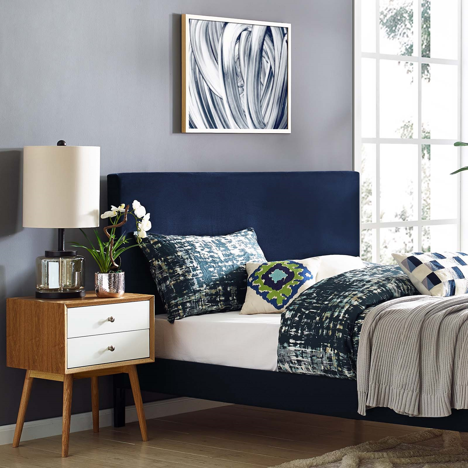 Taylor King and California King Upholstered Performance Velvet Headboard in Midnight Blue