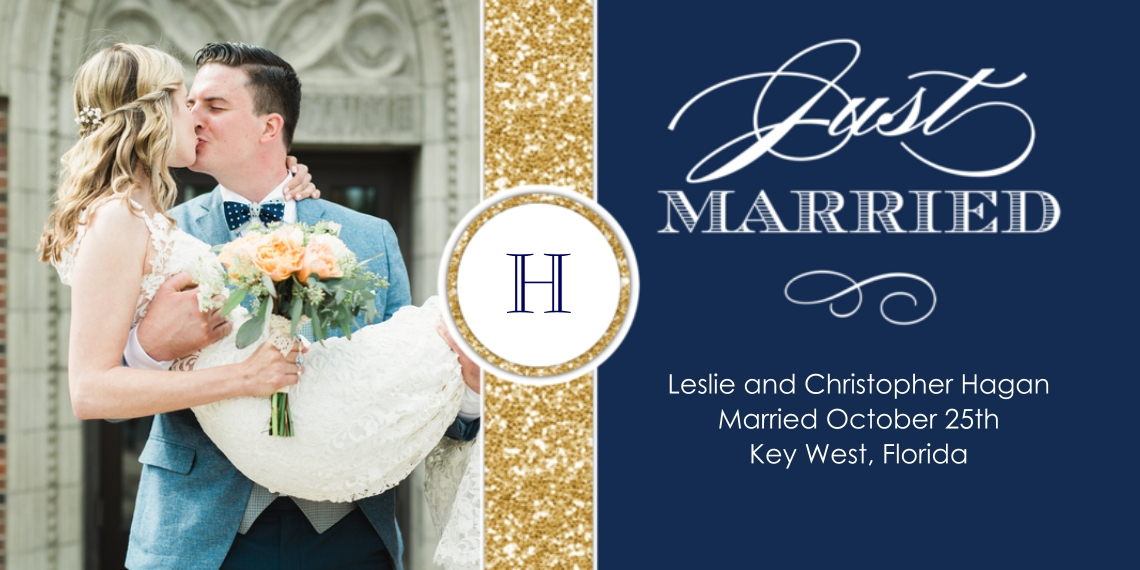 Just Married Flat Glossy Photo Paper Cards with Envelopes, 4x8, Card & Stationery -Wedding Just Married Monogram Glitter