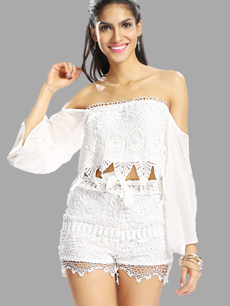 Yoins Off Shoulder Top with Lace Insert