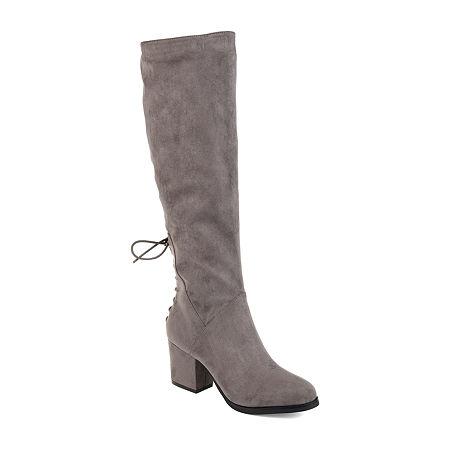Journee Collection Womens Leeda Extra Wide Calf Riding Boots Block Heel Zip, 7 1/2 Medium, Gray