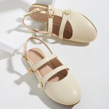 Toddler Girls Faux Pearl Decor Slingback Flats