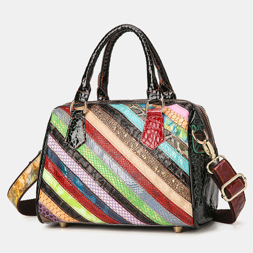 Women Genuine Leather Alligator Stripe Patchwork Multicolor Handbag Shoulder Bag