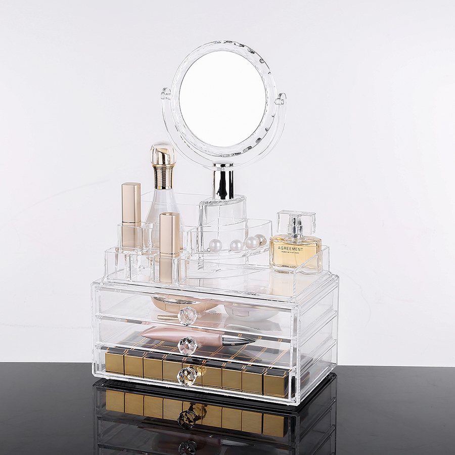 Environment Friendly Acrylic Material 23.9*15.5*36.3cm Mirror Cosmetic Storage Box