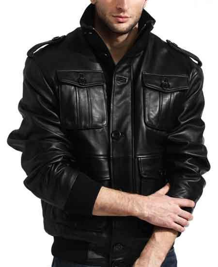 Men's Black Lambskin Leather Shoulder Military Safari Bomber Jacket