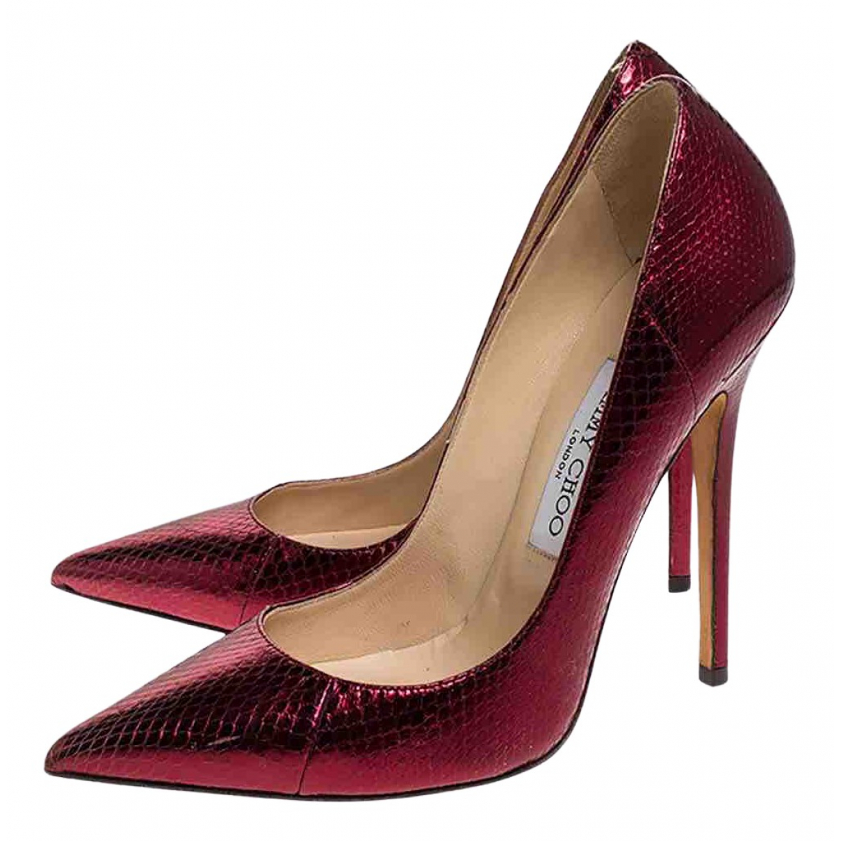 Jimmy Choo Anouk Red Python Heels for Women 38 EU