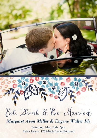 Just Married Flat Matte Photo Paper Cards with Envelopes, 5x7, Card & Stationery -Nosegay