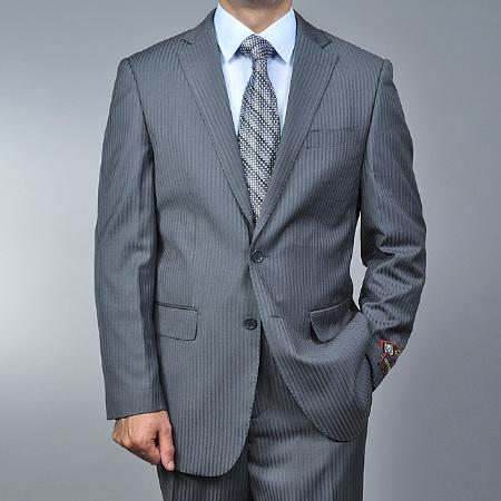 2 Button Grey Tonal Shadow Stripe Suit Mens Cheap
