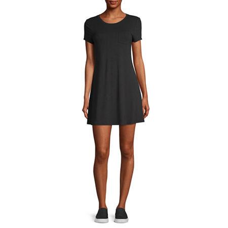 Arizona-Juniors Short Sleeve Swing Dresses, X-large , Black