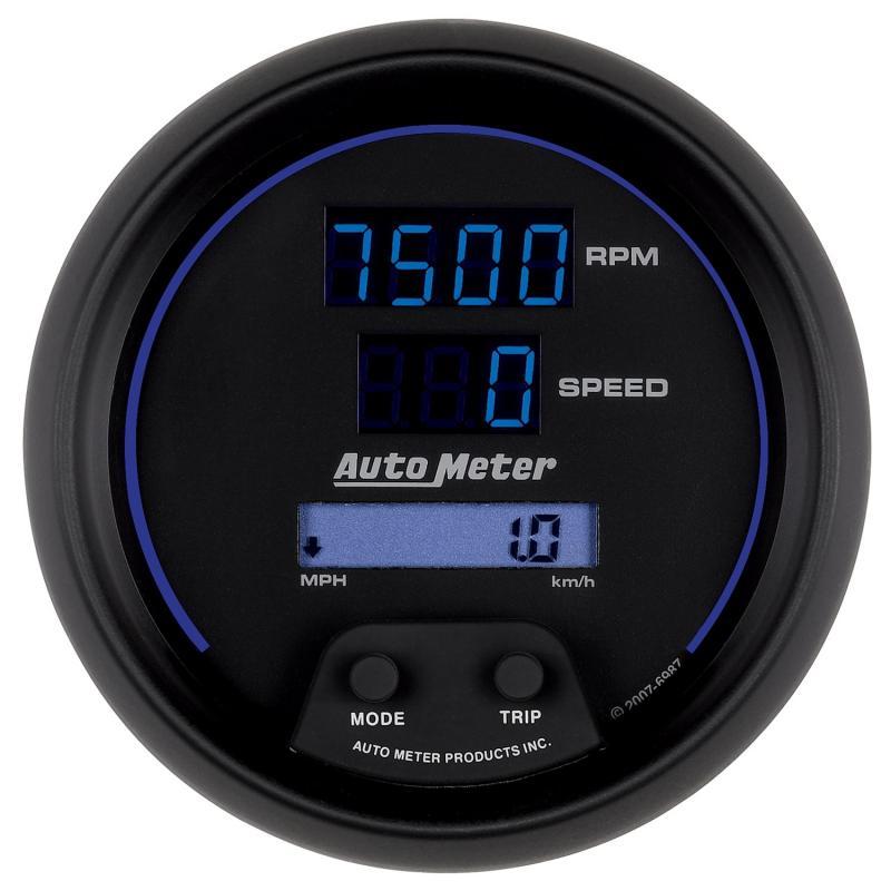 AutoMeter GAUGE; TACH/SPEEDO; 3 3/8in.; 260MPH/260KMH/10KRPM; PRGRAM; DIGITAL; BK W/BLU LE