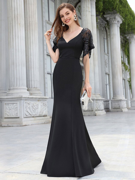 Milanoo Evening Dress A-Line V-Neck Floor-Length Short Sleeves Zipper Satin Fabric Formal Party Dresses